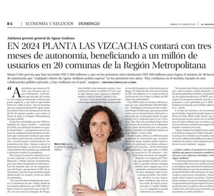 Aguas Andinas: En 2024 planta las vizcachas contará con tres meses de autonomía