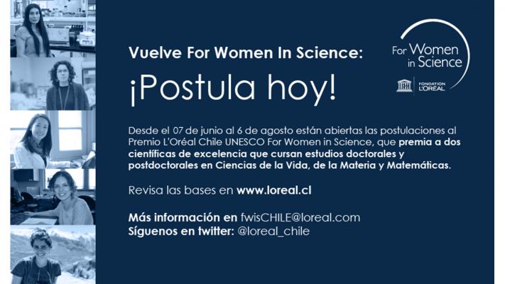 Postulaciones abiertas al Premio L´Oréal Chile – UNESCO For Women in Science 2021
